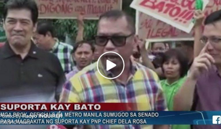 Brgy. Officials nag-rally sa harap ng Senado upang suportahan si General 'Bato' Dela Rosa