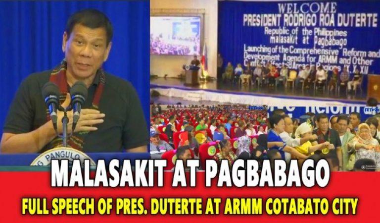 Full Speech of President Duterte in Cotabato City on October 29, 2016