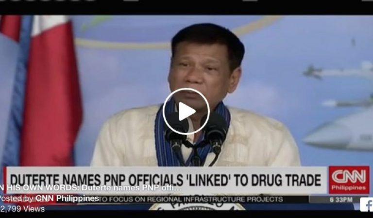 President Duterte Names Five PNP Generals involved in illegal drug activities