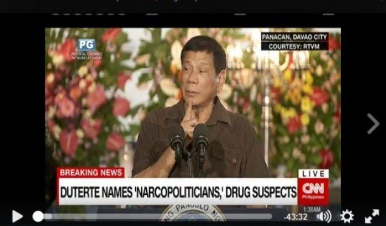 President Duterte names 'narcopoliticians,' judges, LGU officials, policemen allegedly involved in illegal drug trade