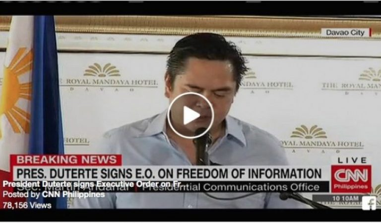 President Rody Duterte signs Executive Order on Freedom of Information