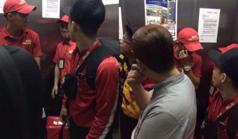 That EPIC moment when Jollibee, KFC, Mcdonald's and Pizza Hut delivery boys meet in an elevator