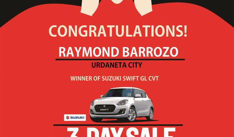 SM City Urdaneta Central's 3-Day Sale Suzuki Swift GC CVT Winner