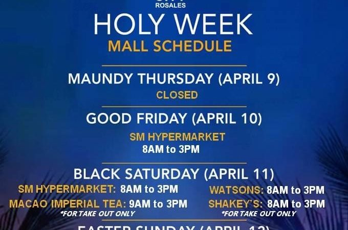 Holy Week 2020: SM City Rosales Mall Schedule