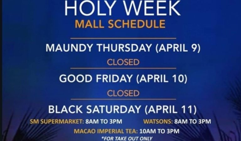 Holy Week 2020: SM City Urdaneta Central Mall Schedule