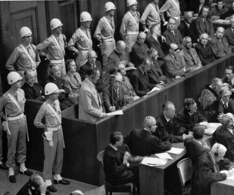 Hermann Göring at the Nürnberg trials Former Nazi leader Hermann Göring standing in the prisoner's box during the Nürnberg trials. | AP Images